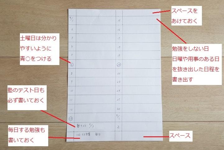 まずはスケジュールを作る下準備、勉強できる日数を書き出す